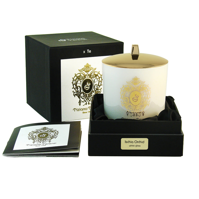 Ischia Orchid Candle, white glass, 1 wood wick - 6 oz.