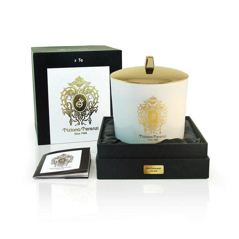 Mediterranean Candle, white glass, 2 wood wicks - 500g