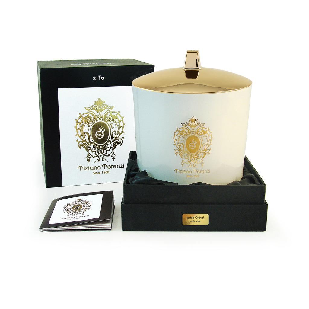 Tiziana Terenzi Ischia Orchid Candle, white glass, 3 wood wicks - 35.3 oz