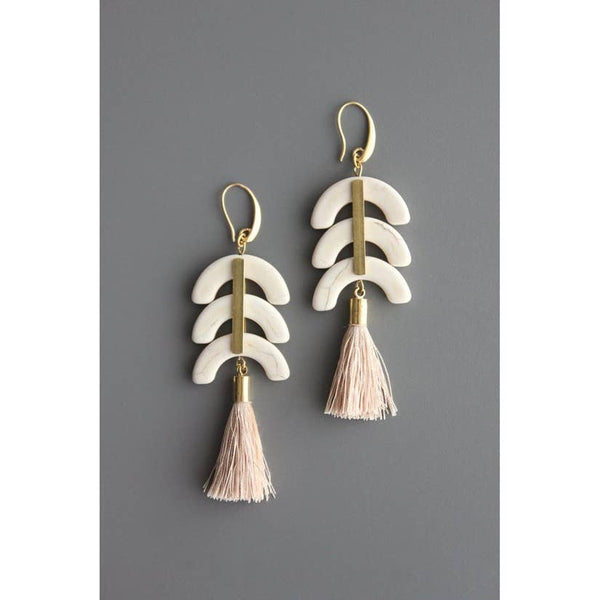 Brass Hook Earrings with Magnesite and Silk Tassels by David Aubrey Jewelry