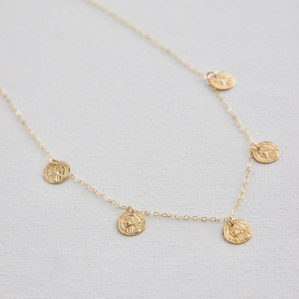 "16"" Gold Filled Chain With Gold Plate Small Coin Dangles"