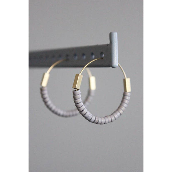 Brass hoop with Magnesite and brass by David Aubrey Jewelry