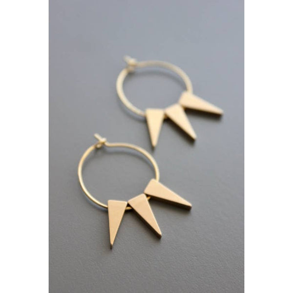 Plated Small Hoop Earrings with Brass Drop by David Aubrey Jewelry