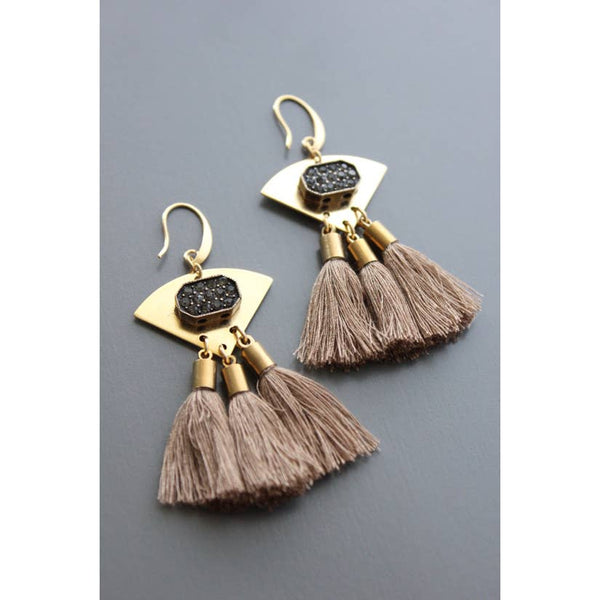 Brass Glass Crystal and Taupe Cotton Tassels by David Aubrey Jewelry