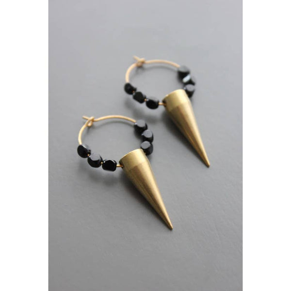 Brass with Czech Glass Spike Earrings by David Aubrey Jewelry