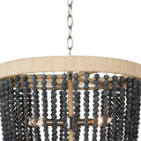 Beaded and Rattan Chandelier Aqua or Blue Black