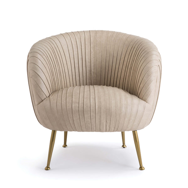 Pascal Pleated Leather Chair Cappuccino