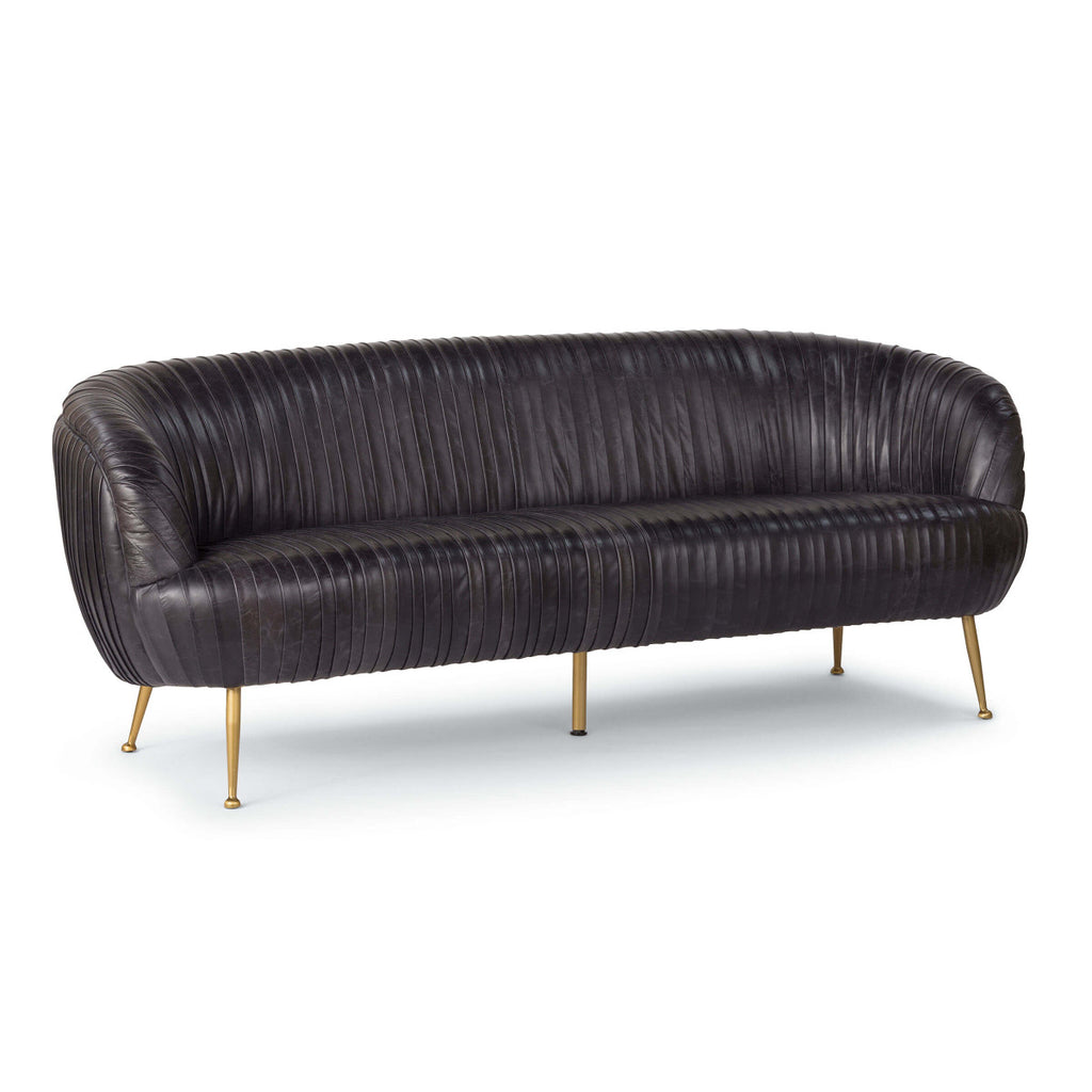 Pascal Pleated Leather Sofa Ebony