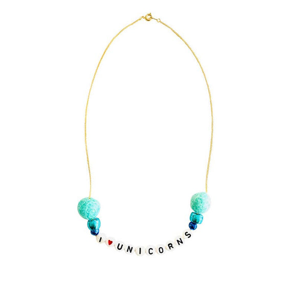 I love Unicorns Pom Pom Word Necklace