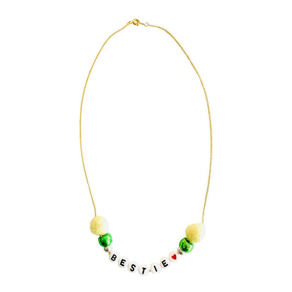 Bestie Pom Pom Word Necklace