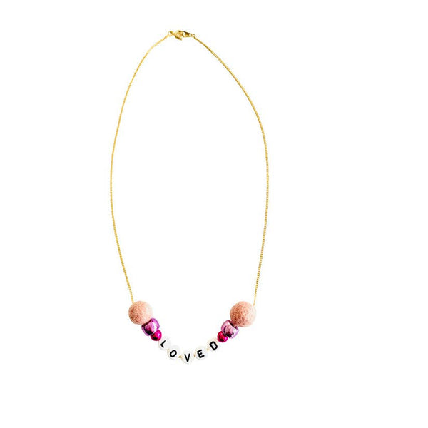 Loved Pom Pom Word Necklace