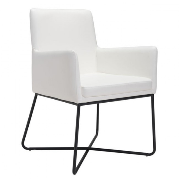 Alexa Faux White Leather Arm Chair