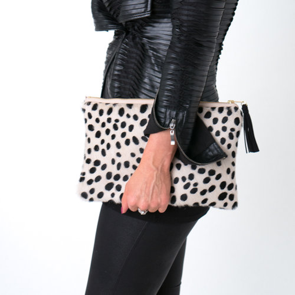The Amy Cowhide Leather Clutch