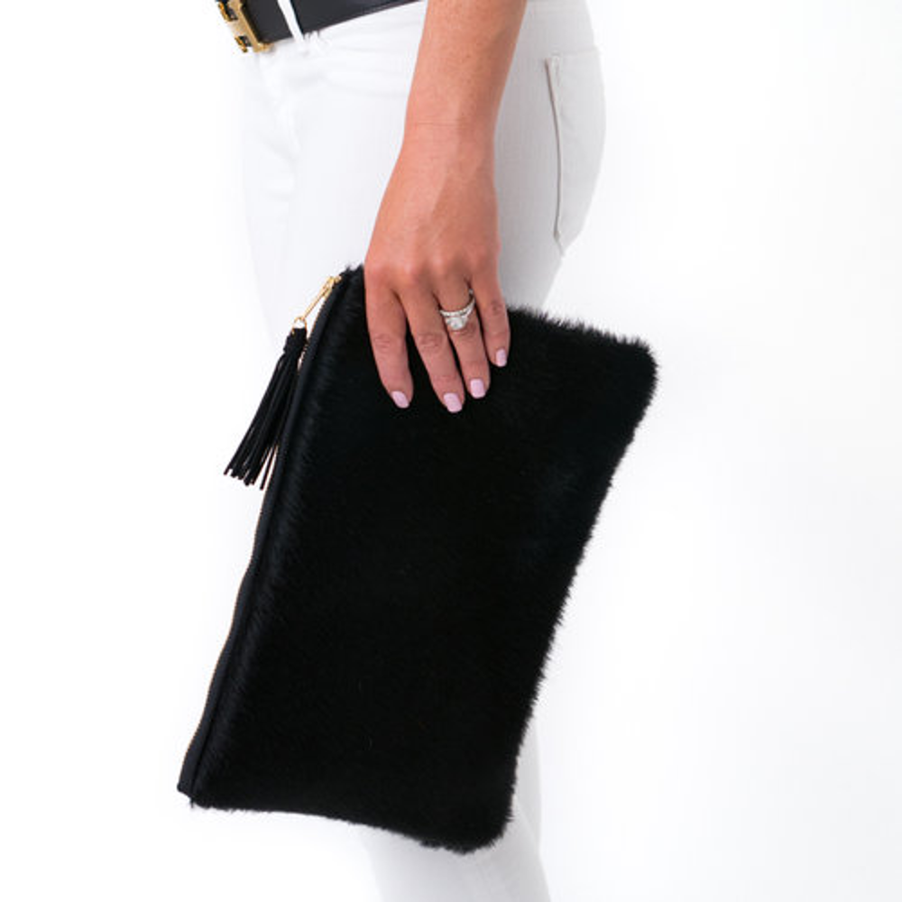 The Annie Cowhide Leather Clutch