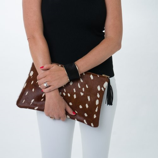 The Bambi Cowhide Leather Clutch