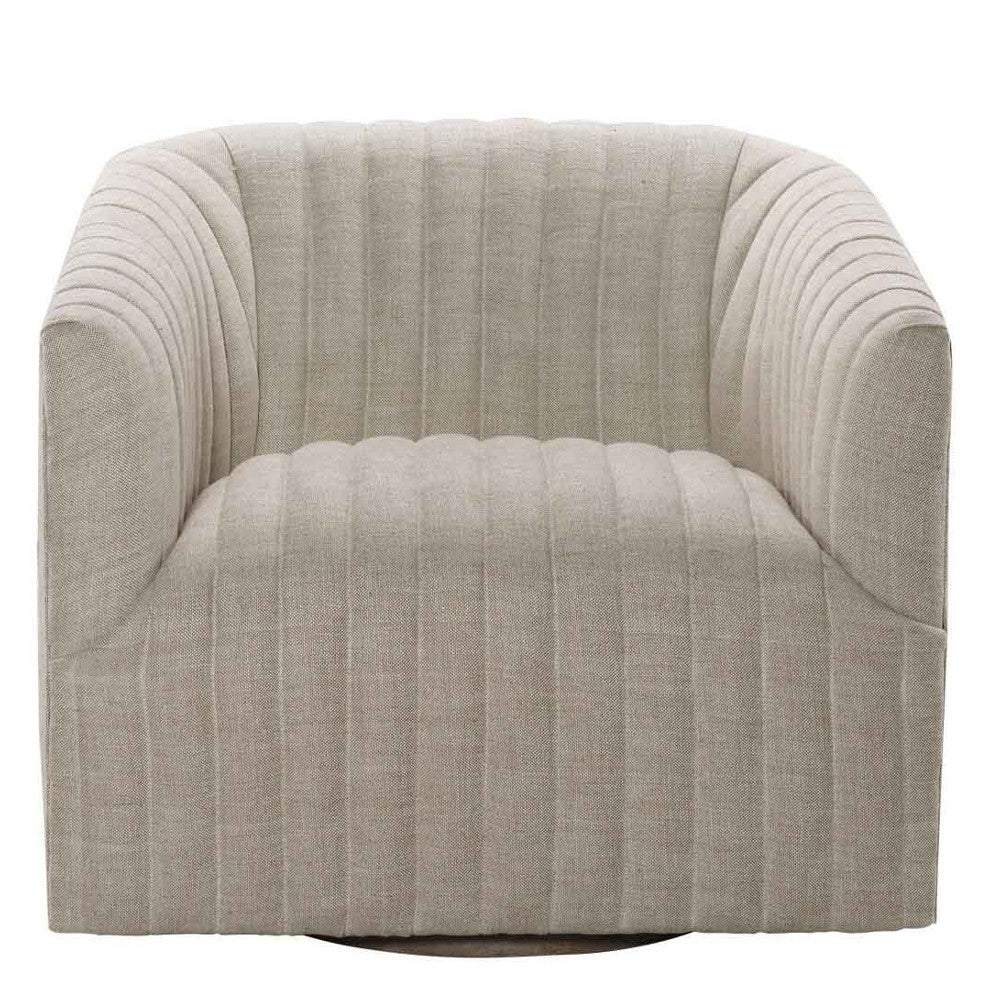 Beige Linen Swivel Arm Chair
