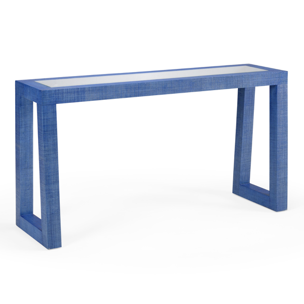 Blue Wicker Console Table