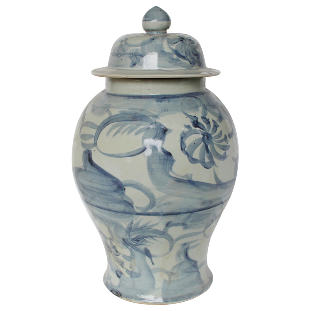 Blue And White Porcelain Silla Flower Temple Jar