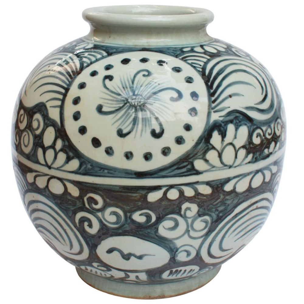 Blue & White Yuan Sunflower Open Top Porcelain Jar