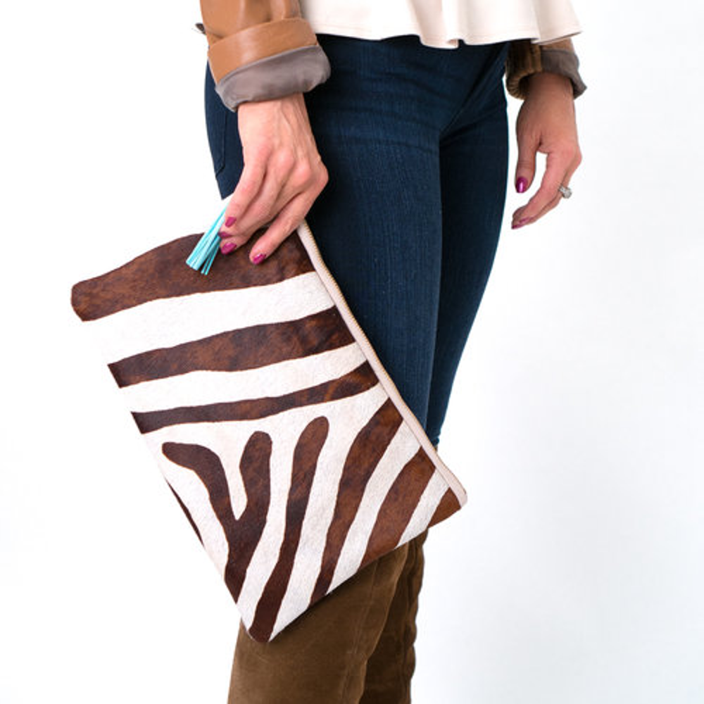 The Carrie Cowhide Leather Clutch