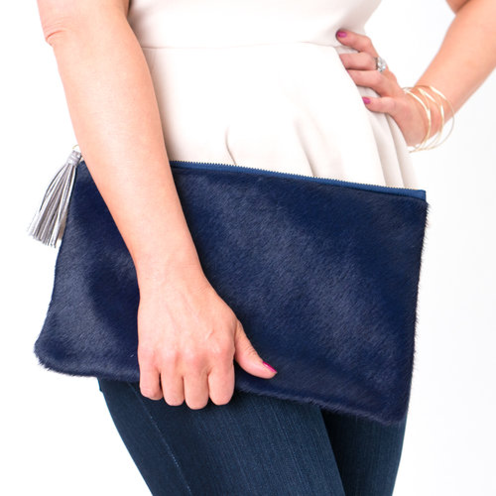 The Catherine Cowhide Leather Clutch