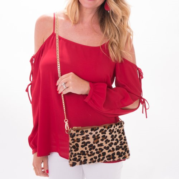The Cheetah Cowhide Crossbody Clutch