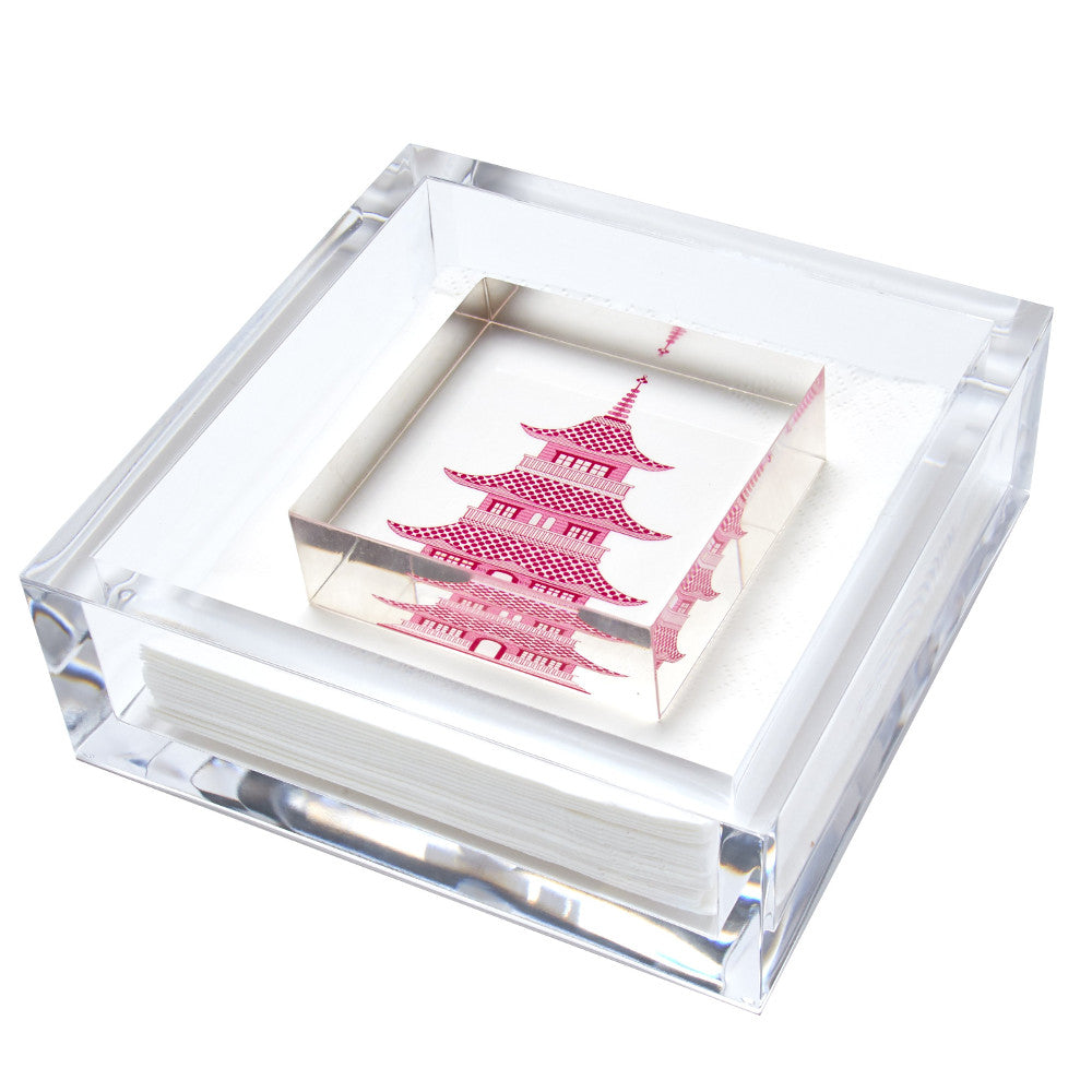 Cocktail napkin holder - pink pagoda by Tara Wilson