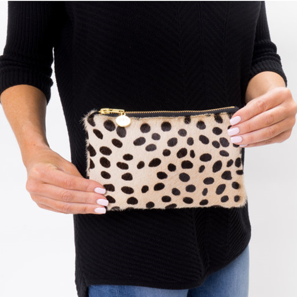 Mini Dalmatian  Cowhide Clutch