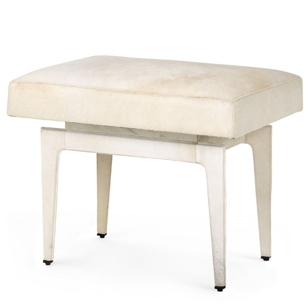 White Hair on Hide Stool