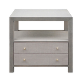 Lacquer and Grasscloth Side Chest Natural or Gray