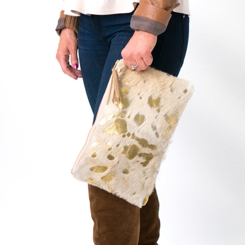 The Honey Gold Cowhide Leather Clutch