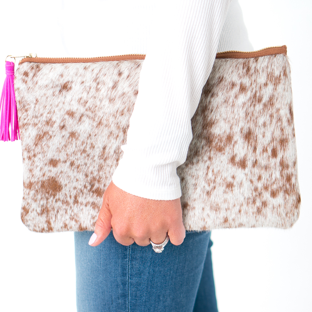The Jane Cowhide Leather Clutch