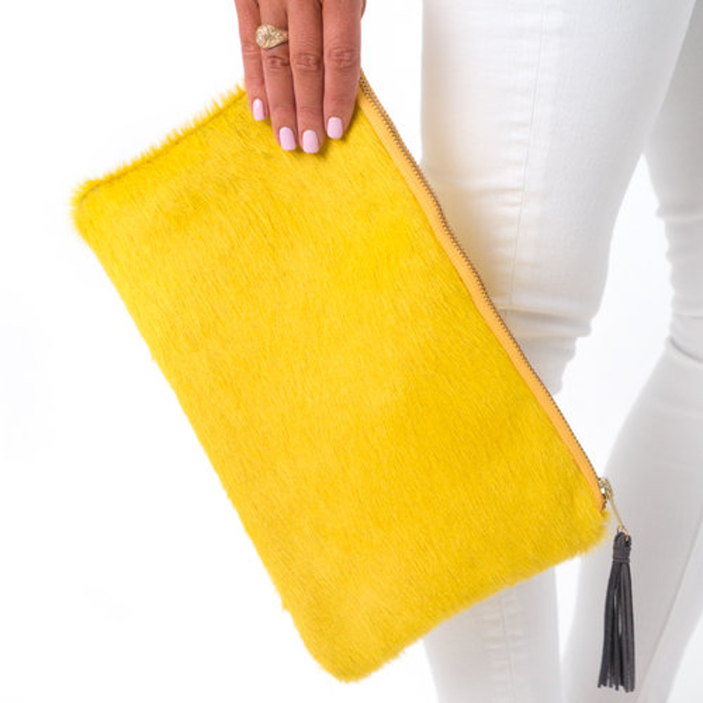 The Kelsey Cowhide Leather Clutch