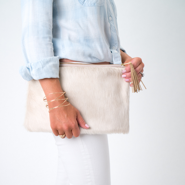 The Lauren Cowhide Leather Clutch