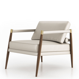 Valencia Ivory Mid Century Leather Accent Chair PreOrder