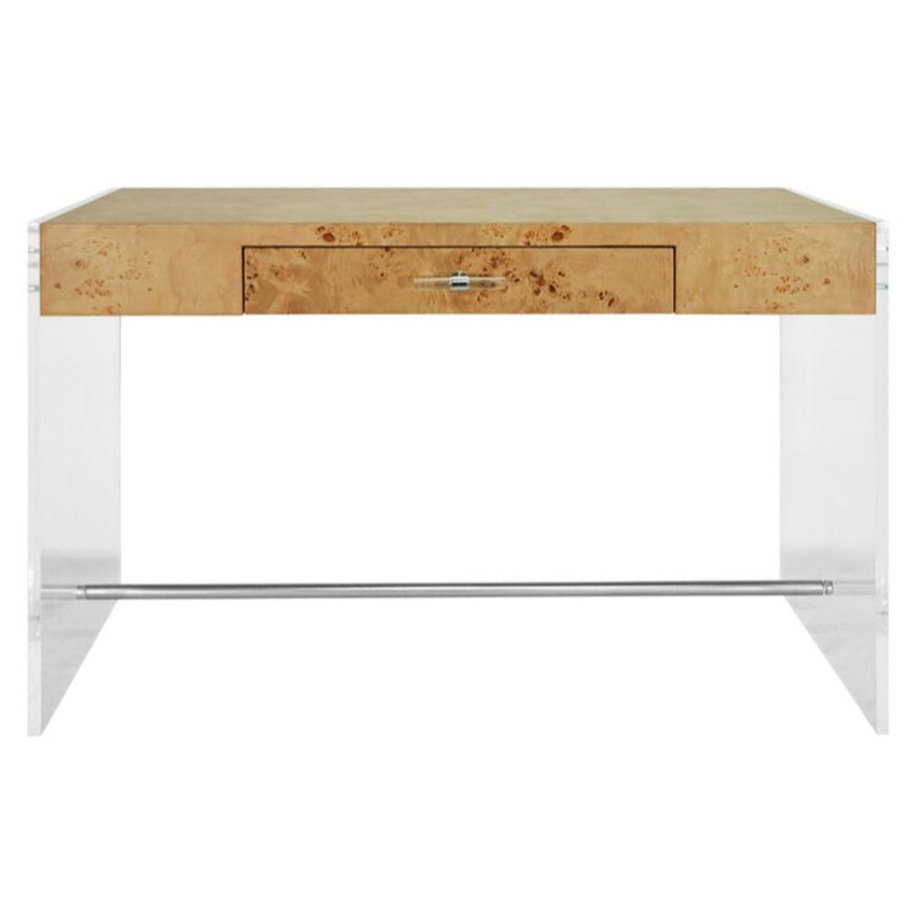 Lennon Acrylic and Burlwood Desk