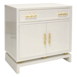 Lacquered Grey or White and Gold Bedside Chest