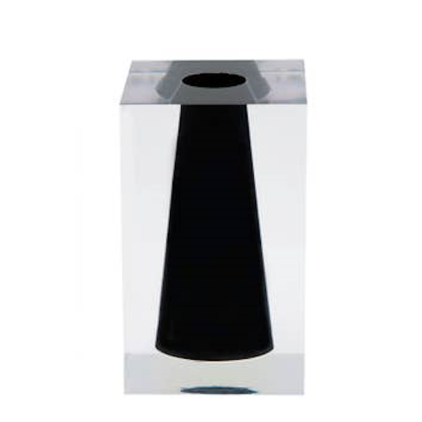 Medium Acrylic Block Bud Vase in Soho Black