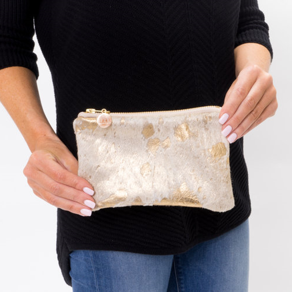 Mini Gold Cowhide Clutch