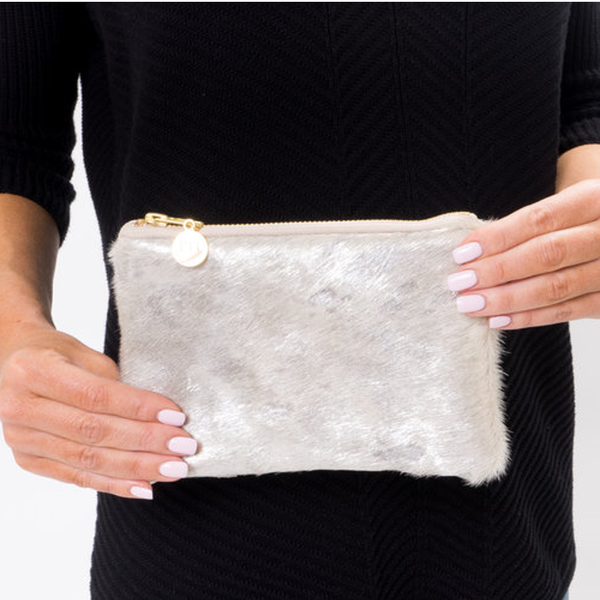 Mini Silver Cowhide Clutch