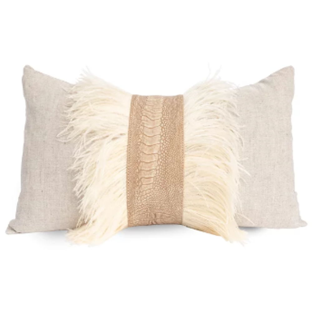 Natural Linen with Ostrich Trim - Stone Wash Pillow