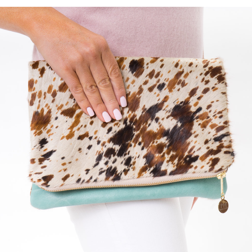 The Salt and Pepper Cowhide and Leather Clutch
