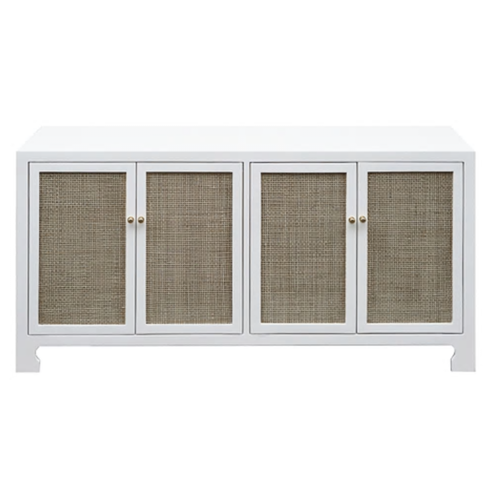 Cane Front Cabinet White or Gray