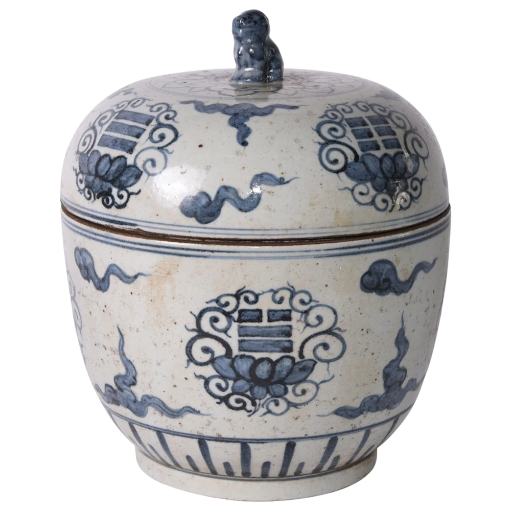 Blue And White Tai Chi Lidded Jar Size (inches): 10W x 10D x 10H