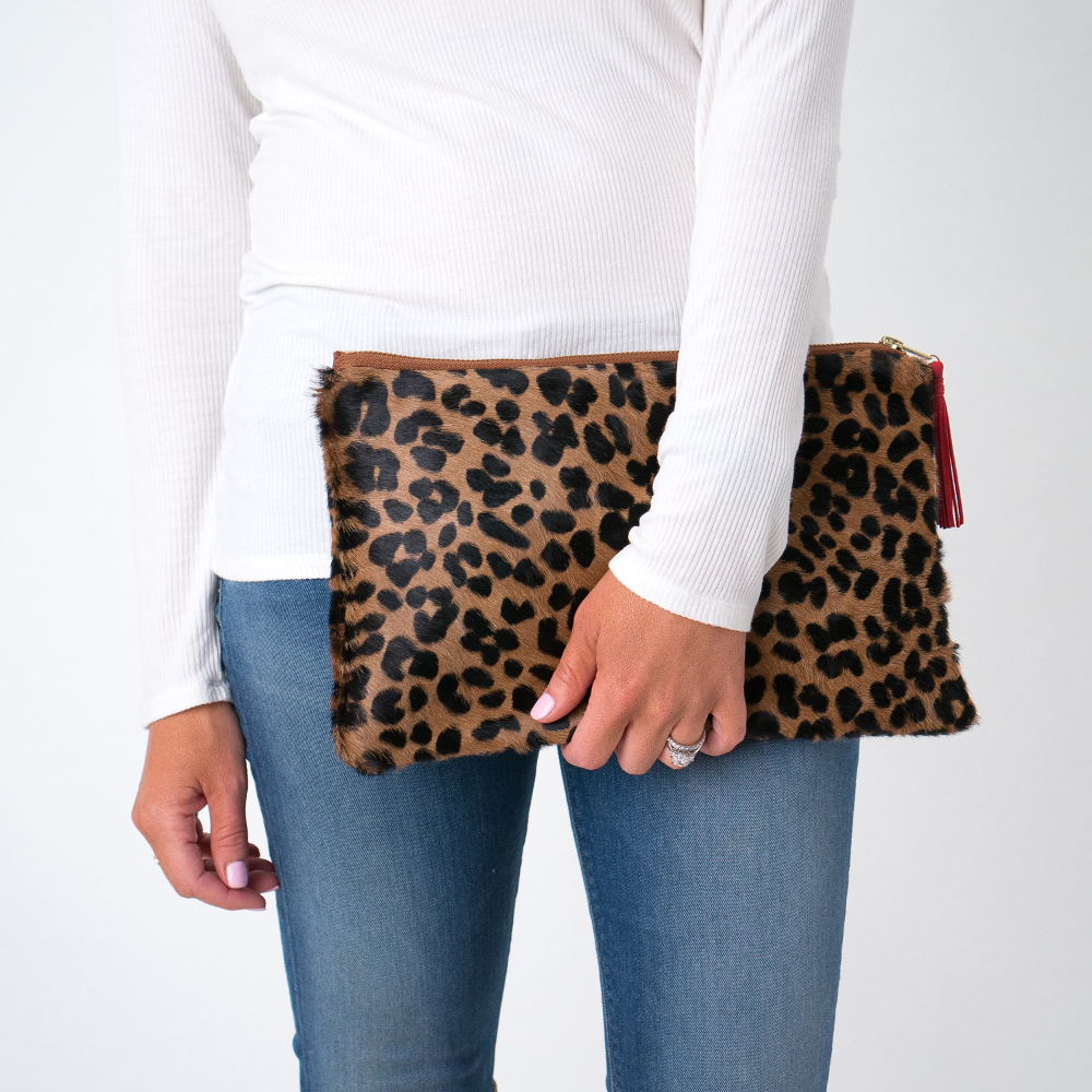 The Victoria Cowhide Leather Clutch