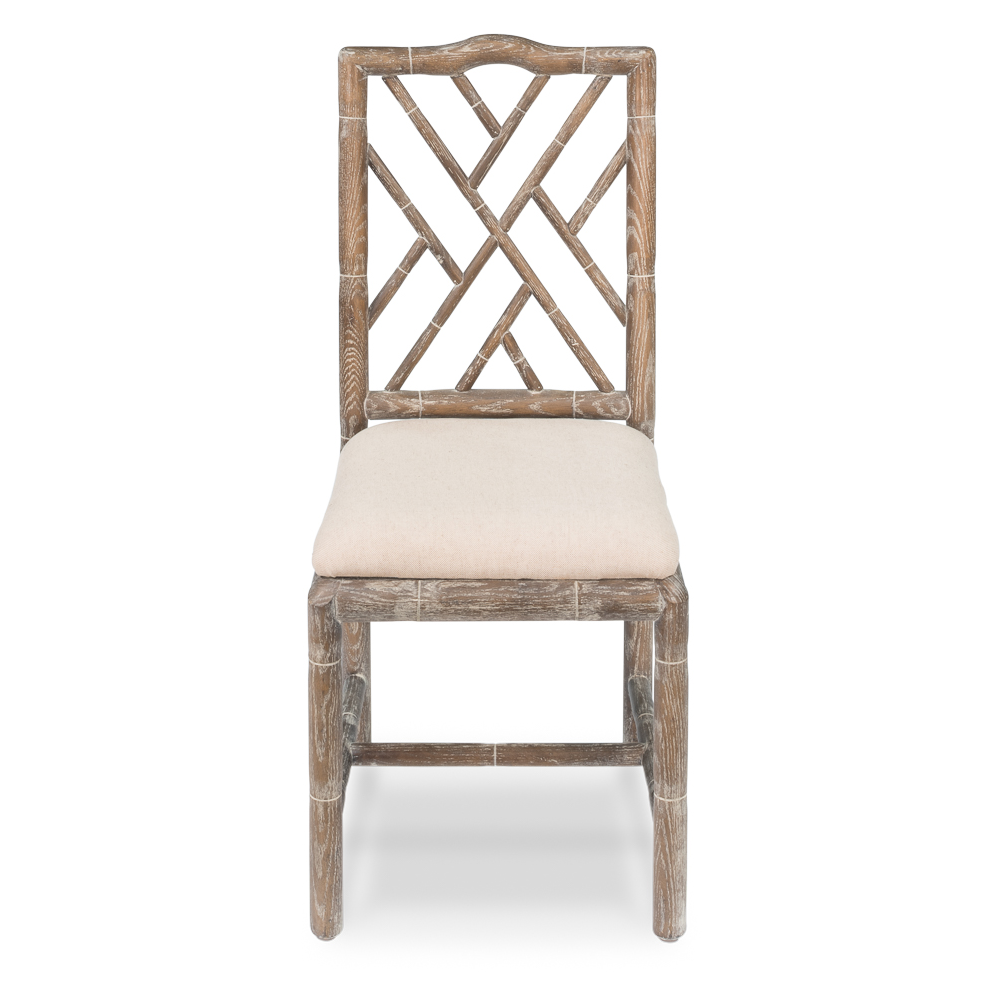 White Oak and Linen Bamboo Dining Chair (Set of 2)