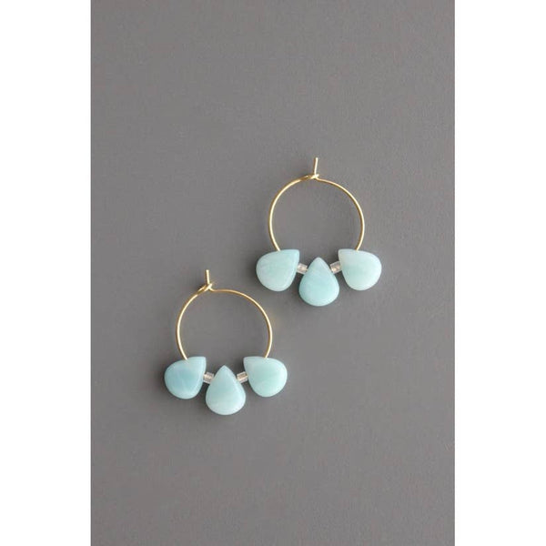 Brass Hoops with Amazonite by David Aubrey Jewelry