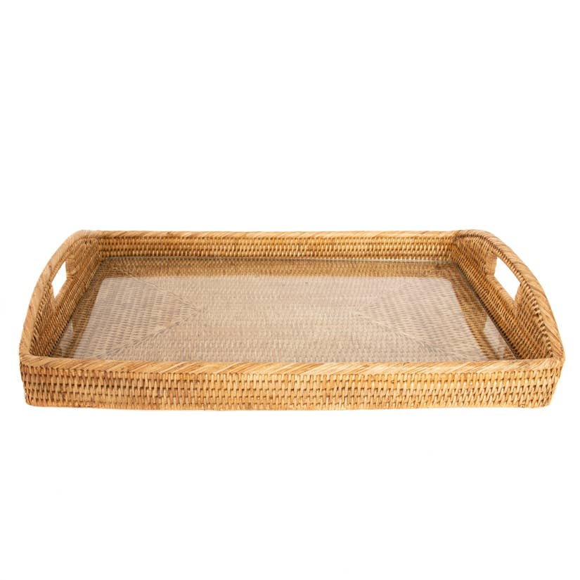 "21"" x 14"" x 2"" Rattan Rectangular Tray with Glass Insert 3 color choices"