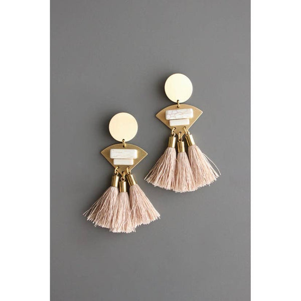 Brass, Magnesite, and Silk Tassel Earrings by David Aubrey Jewelry