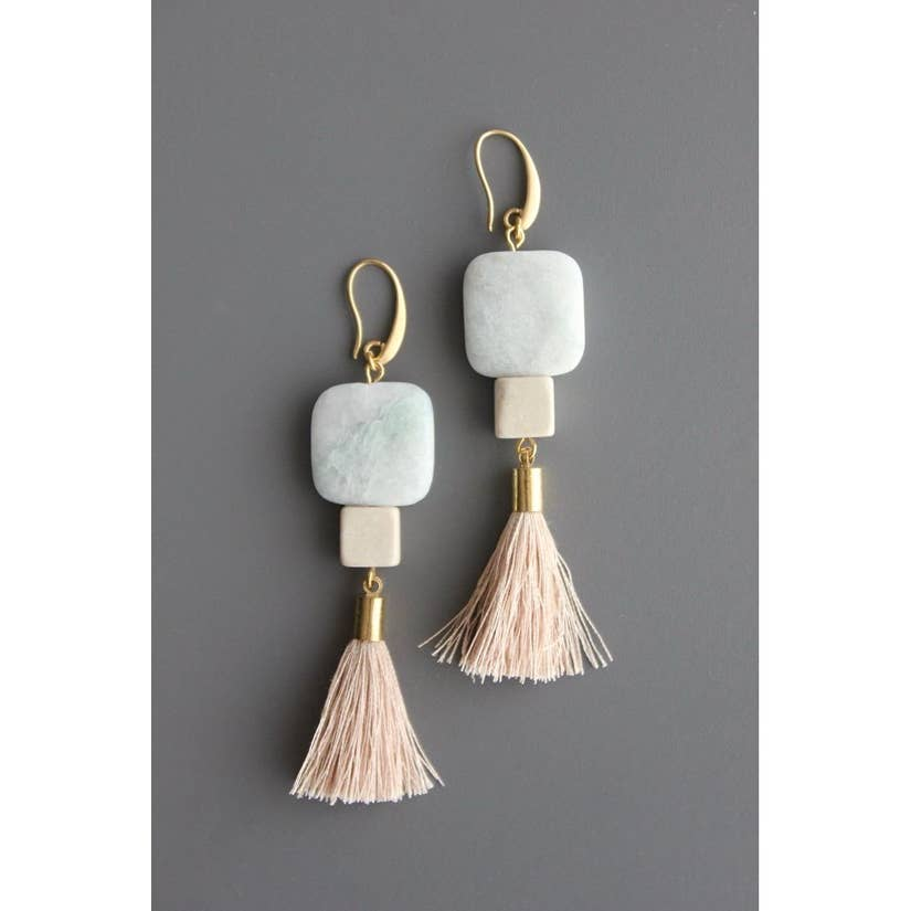 Amazonite, Magnesite, and Silk Tassel Earrings by David Aubrey Jewelry